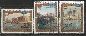 GABON  C123-C125  USED,  UNESCO