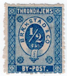 (I.B-CK) Norway Local Post : Throndheim ½sk (Brækstad & Co) small format