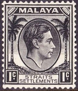 MALAYA STRAITS SETTLEMENTS 1938 KGVI 1 Cent Black SG278 MH