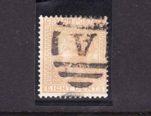 D3-Ceylon-Scott#66a-used QV-8c orange yellow-letter A canc