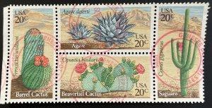 US #1945a (1942-1945) Used Block of 4 - 20c Desert Cactus 1981 [R804]