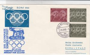 viscount 814 munich  rome 1960 olympics  air mail fight stamps cover ref 19761