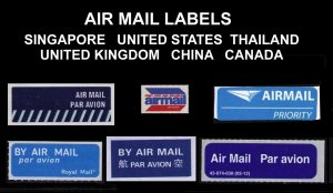 AIR MAIL LABELS LOT OF 6 DIFF FROM 6 DIFF COUNTRIES, NICE LOT, CINDERELLA