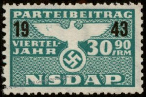 Germany 1943 30.90RM NSDAP Nazi Party Dues 1/4Yr Viertel Jahre Stamp MNG 96209