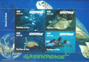 Niger 1998 Greenpeace Turtles Marine Life 4v Mint Souvenir Sheet S/S. (#10)