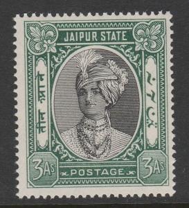 INDIA JAIPUR 1932-46 3a BLACK & GREEN SG 63 MNH.