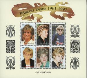 Angola #0 2 Souvenir Sheets Princess Diana Memorial ~ (8078)