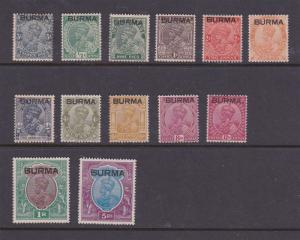 Burma 1937 Sc KGV Sc 1-6,8-13,15 MH