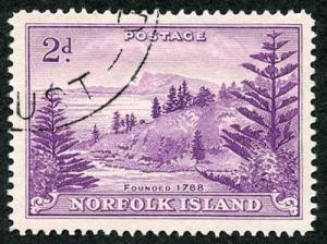 Norfolk Island SG4a1956 2d Reddish Violet on WHITE PAPER Fine Used