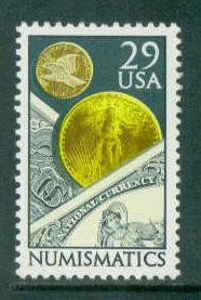 2558 29c Numismaticsl Fine MNH Plt/4 LL 124432 1 F13784