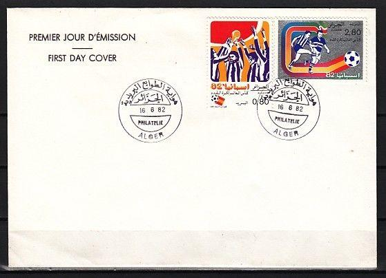 Algeria, Scott cat. 681-682. Soccer issue on a Plain First day cover.