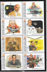 Micronesia #210 32c Pioneers of Flight & Aviation block of 8 (MNH) CV$528