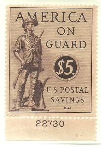 #PS15 Postal Savings Plate Single Mint NH #22730