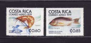 Costa Rica C742-C743 U Marine Life, Shrimp and Fish (A)
