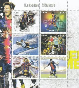 10x Sport Soccer Football Lionel Messi perf Private Local Issue not MNH