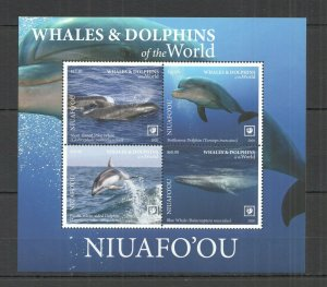 R0196 2020 NIUAFO'OU WHALES & DOLPHINS OF THE WORLD MARINE LIFE FAUNA KB MNH