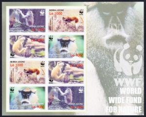 Sierra Leone WWF Patas Monkey Imperforated Sheetlet of 2 sets