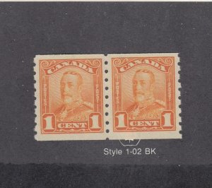 CANADA (MK4201) # 160  VF-MNH  1cts  1929 KGV SCROLL COIL PAIR CAT VALUE $240