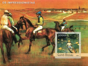 Sao Tome & Principe 2003 GUSTAVE COURBET Paintings Horse s/s Perforated Mint(NH)