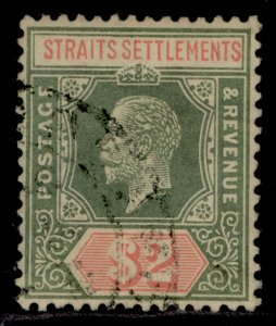 MALAYSIA - Straits Settlements GV SG211, $2 green & red/yellow, FU. Cat £55.