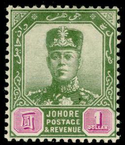 MALAYSIA - Johore SG87, $1 green & mauve, LH MINT. Cat £120.