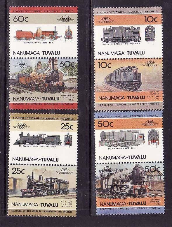 Tuvalu-Nanumaga-Sc#29-32- id5-unused NH Train set-Locomotives-1985-