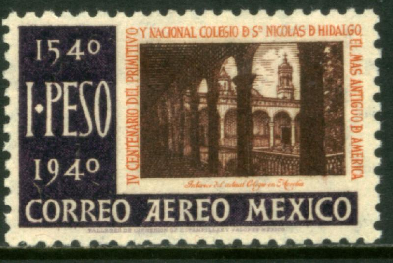 MEXICO C110, $1P School of San Nicolas 1st in America MINT, NH. VF.