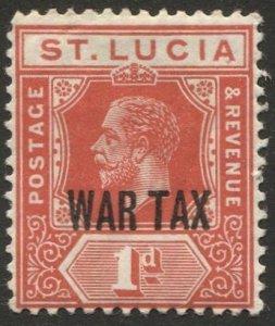 ST LUCIA  Sc MR2  1d KGV WAR TAX MLH  VF
