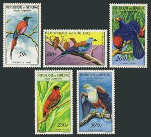 Senegal C26-30,without gum. Bee-eater,Roller,Touraco,Red bishop.Fish eagle.