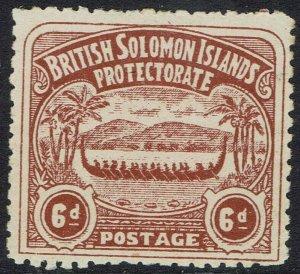 BRITISH SOLOMON ISLANDS 1907 LARGE CANOE 6D