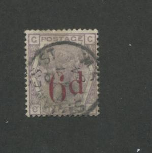 1883 Great Britain United Kingdom Queen Victoria 6 Pence Postage Stamp #95