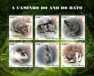 Z08 IMPERF GB191002a GUINEA BISSAU 2019 Year of the Rat 2020 MNH ** Postfrisch