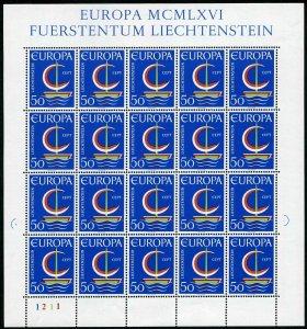 Liechtenstein 415 sheet,MNH.Michel 469 bogen. EUROPE CEPT-1966,Sailboat.