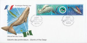 Norfolk Island 2002 FDC Sc #783 Pair with label Sperm Whale - Joint with New ...