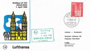 Switzerland 30c Grossmunster Church at Zurich 1965 Zurich 1, Luftpost Lufthan...