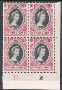 NEW HEBRIDES 1953 Coronation fine mint plate block of 4.....................A265