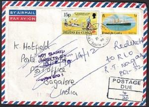 TRISTAN DA CUNHA 1998 Postage due cover to India - Returned to sender......73465