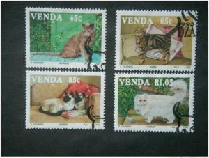 VENDA, 1993, CTO set, Cats, Scott 253-6 CV 4.00, on paper