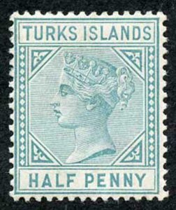 TURKS ISLANDS SG53 1/2d Blue-green Wmk Crown CA Perf 14 Mint (part gum)
