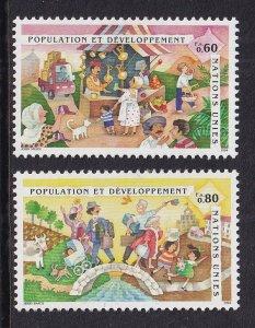 United Nations Geneva  #258-259  MNH 1994  population and development