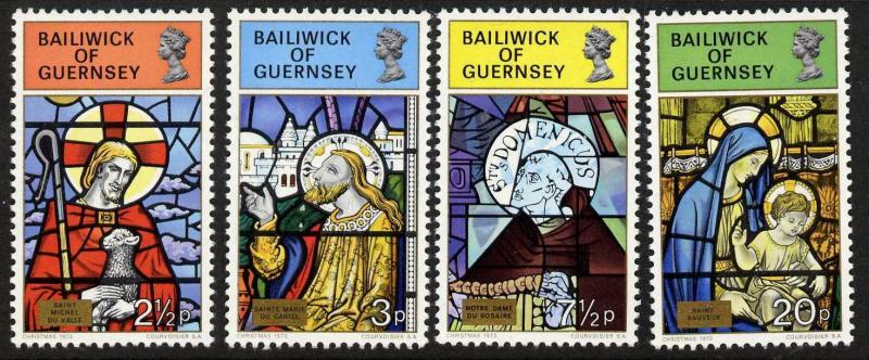 Guernsey 86-9 MNH Christmas, Stained Glass, Art