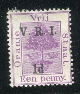 ORANGE FREE STATE;  1900 V.R.I. surcharge Mint hinged 1d value,
