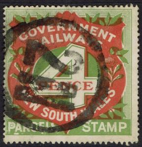 NEW SOUTH WALES 1918 RAILWAY PARCEL STAMP 4D USED