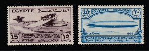 Egypt the 2 MH high values from the 1933 Aviation set