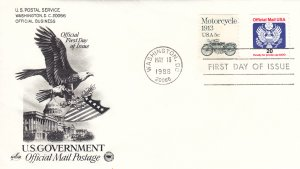 1988, 20c Official Mail, Artcraft/PCS, FDC (E9203)