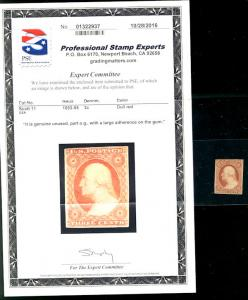 #11  Scott CV $250  #11 VF OG Hr's, w/PSE CERT,  a very fresh stamp, nice and...
