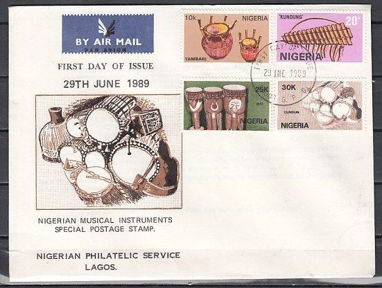 / Nigeria, Scott cat. 545-548. Native Music Instruments on a First Day Cover.