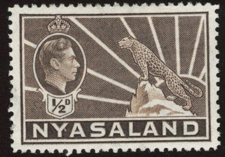 Nyasaland Protectorate Scott 54A MH* KGVI leopard stamp