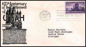 US 950 Utah Statehood C Anderson Black Typed FDC