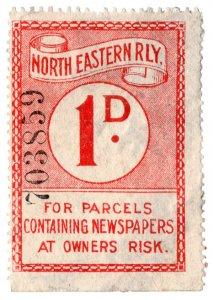 (I.B) North Eastern Railway : Newspaper Parcel 1d